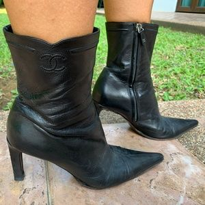CHANEL Black Lambskin Leather CC Ankle Boots
